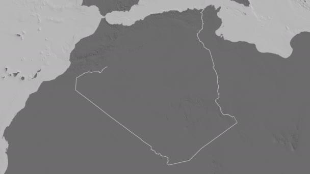 Tlemcen extruded. Province of Algeria. Stereographic bilevel map