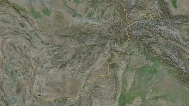 Badakhshan extruded. Afghanistan. Stereographic satellite map