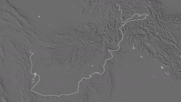 Kabul extruded. Afghanistan. Stereographic bilevel map