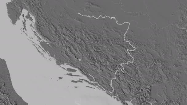 Federacija Bosna i Hercegovina extrudált. Bosznia-Hercegovina. Sztereográfiai kétszintű térkép