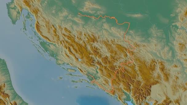 Federacija Bosna i Hercegovina extrudált. Bosznia-Hercegovina. Sztereográfiai domborzati térkép