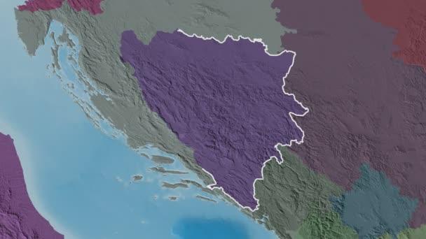 Repuplika Srpska extrudálva. Bosznia-Hercegovina. Sztereográfiai közigazgatási térkép
