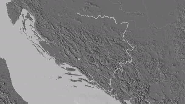 Repuplika Srpska extrudálva. Bosznia-Hercegovina. Sztereográfiai kétszintű térkép