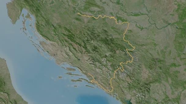 Repuplika Srpska extrudálva. Bosznia-Hercegovina. Sztereográfiai műholdas térkép