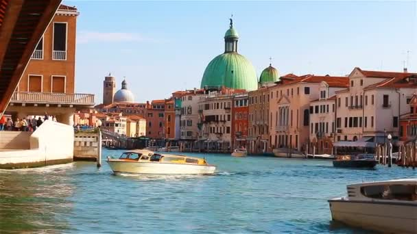 Venice, Italy - September 2017: Boats, vapartretto and gandols are sailing along the Grand Canal in Venice