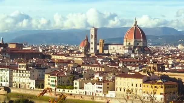 Gyönyörű panoráma a Duomo, Firenze, Olaszország. TimeLapse