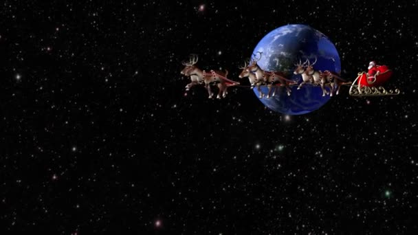 Santa Claus carries gifts on a sleigh pulled by deer. Fantastic flight around the Earth