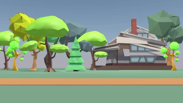 Roztomilá venkovská krajina, polygonální stromy a dům. 3D vykreslování