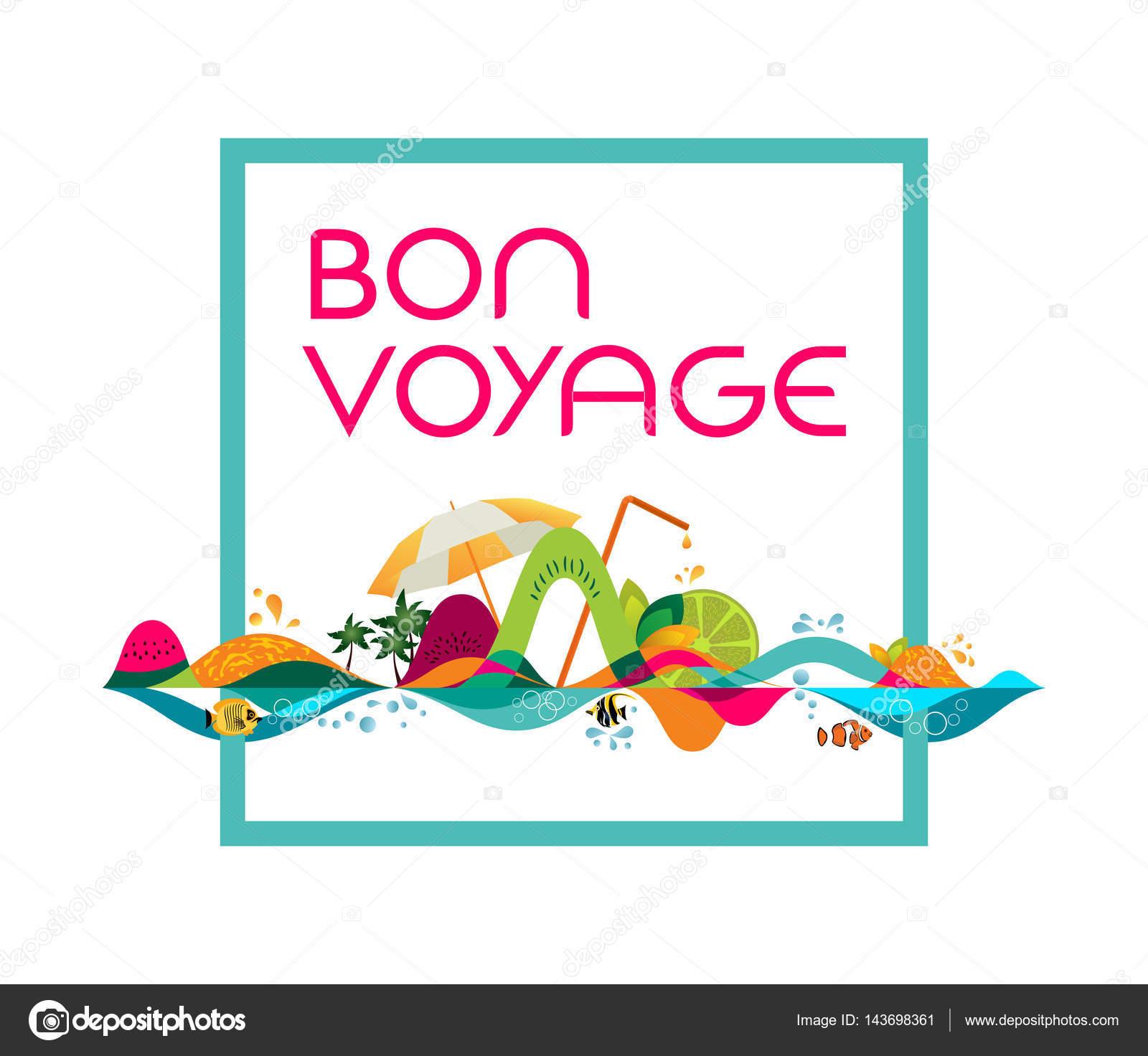 Bon Voyage - bandera, vector plantilla ilustración — Archivo ...