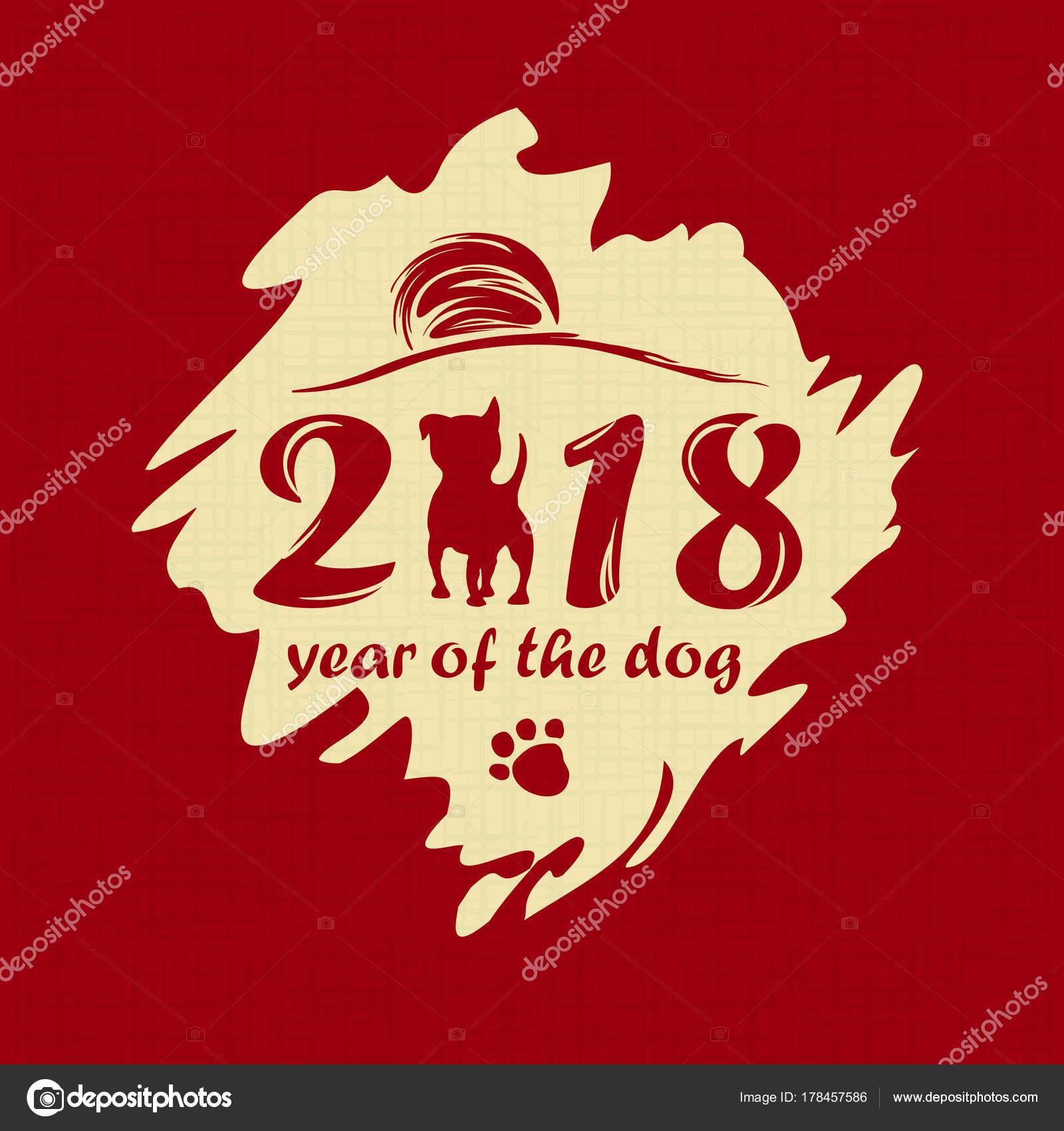 Chinesische Neujahr 2018. Grußkarte. Vektor-illustration ...