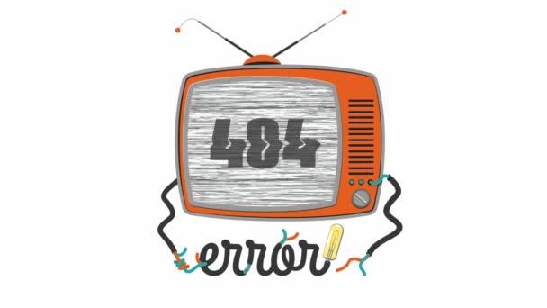 Retro roztomilá kreslená televize s obrazovkou závady, 404 chyba - stránka nenalezena, webmasteři dedikovaní, vtipná animace z vektoru