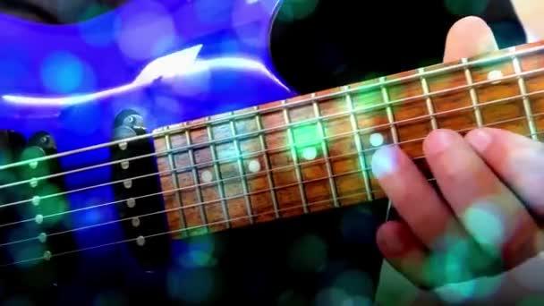 Guitarist Plays Rock Electric Guitar, Abstract Guitar, Close Up, Light Fx