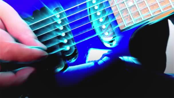 Guitarist Plays Rock Electric Guitar, Abstract Guitar, Close Up, Light Fx