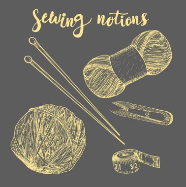 Set of sewing accessories.Vector illustration.