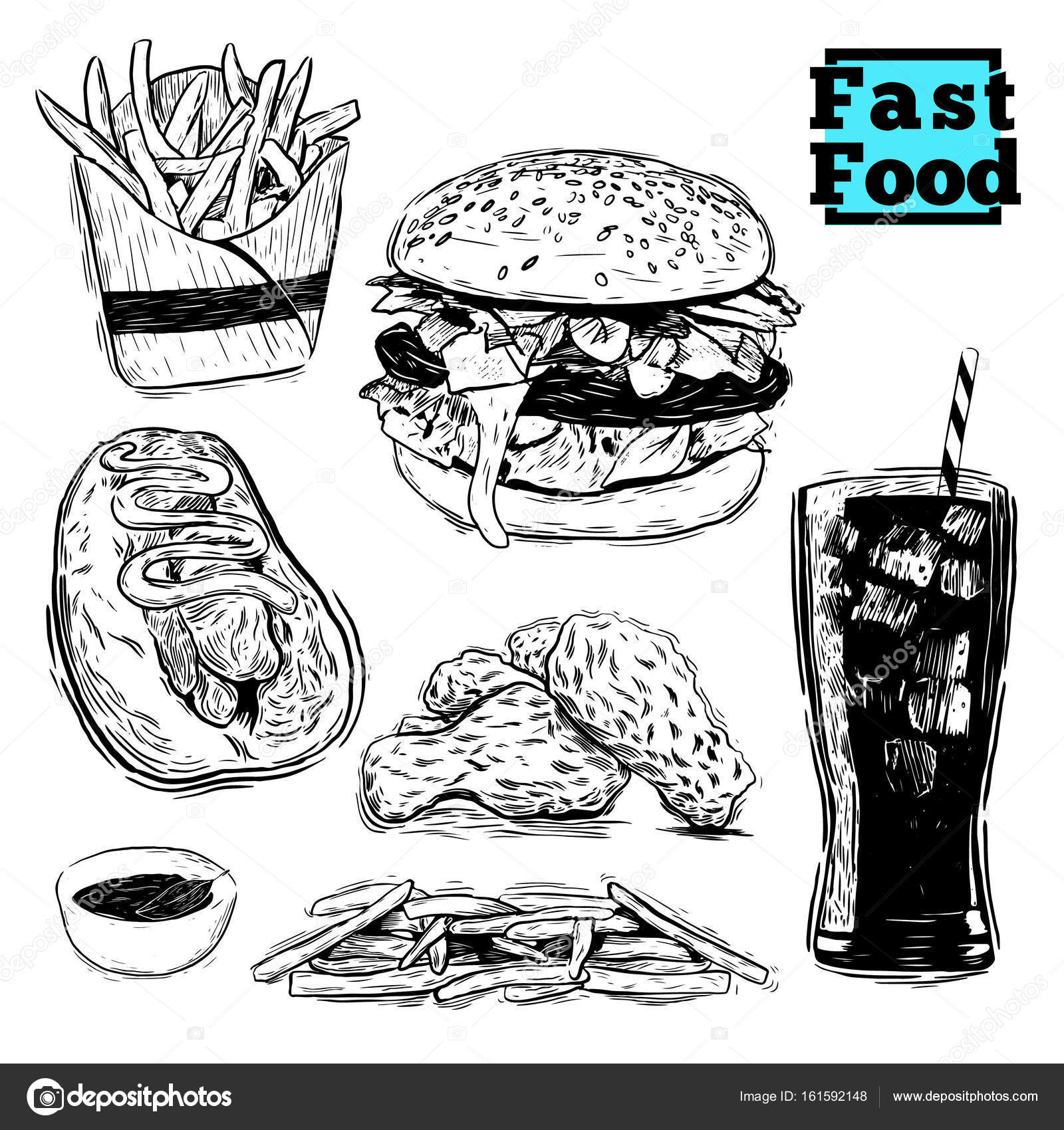 Fast Food Hamburger Doodle Set Stock Vector C Lastrooo 161592148