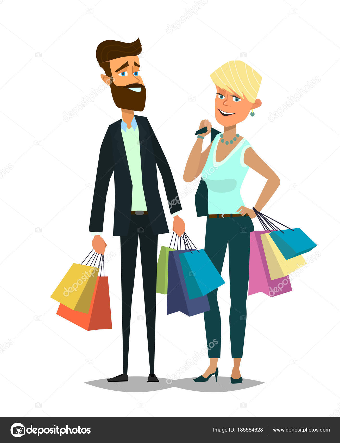8d7e1445e3acf Pareja de jóvenes de compras. Hombre y mujer con paquetes. Ilustración de  vector de