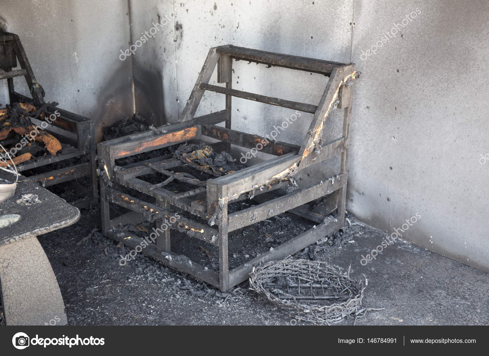 Chair And Furniture In Room After Burned By Fire In Burn Scene Of Arson  Investigation Course U2014 Photo By Prathaan
