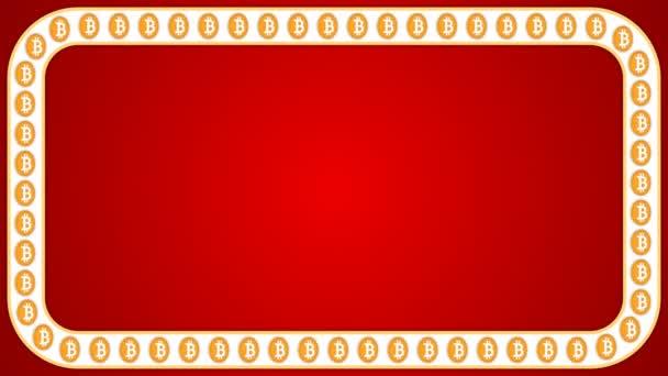 Bitcoin kryptoměn červené pozadí obdélník hranice rámečku nápis