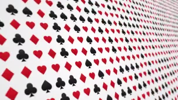 Hrací karta vyhovuje srdcím diamanty kluby spades vzor animované pozadí zavřít