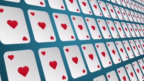 Hrací karta vyhovuje srdce vzor zavřít animované pozadí