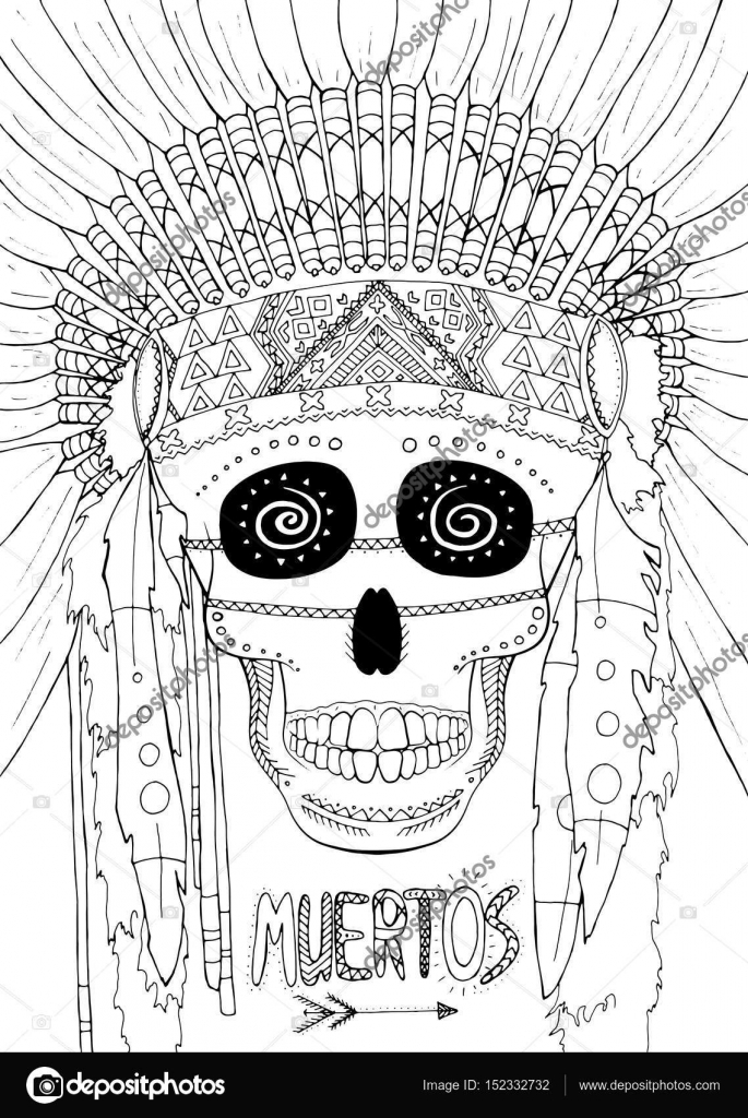 Zentangle Vektor-Illustration Dia de Muertos Indianer Ethno-Stil ...
