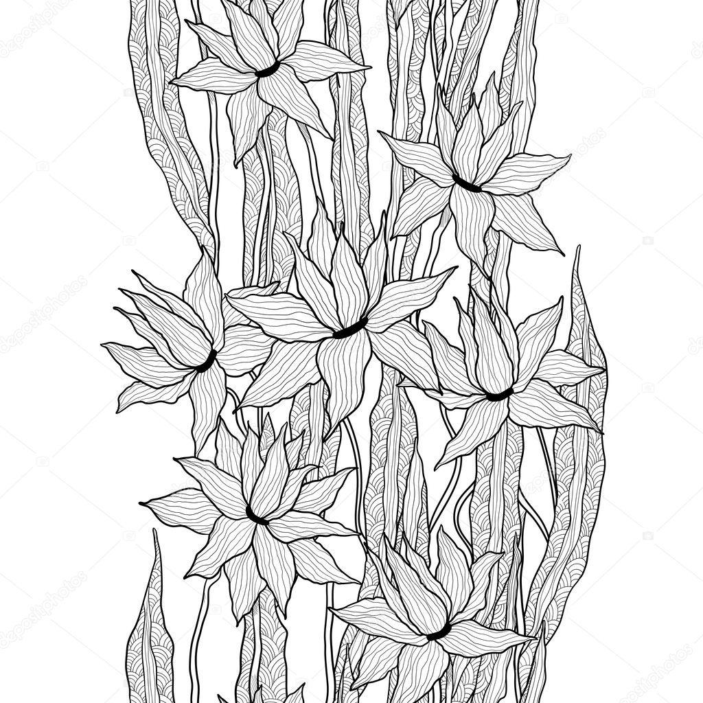 Motif Floral Vectorielle Continue Feuilles De Fleurs De Lys Royal