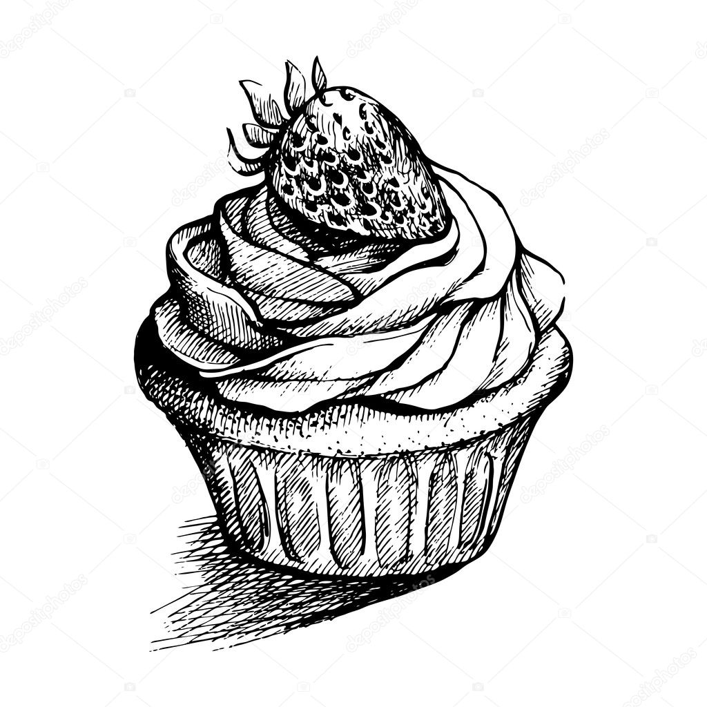 Vektor schwarz-weiß Skizze Abbildung der süßen Creme süßen Cupcake ...