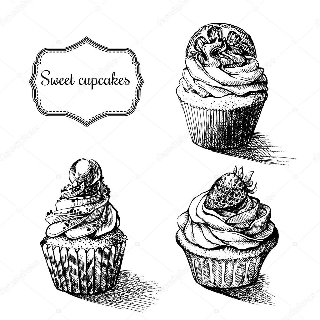 Fondo monocromo de vector. Mano dibuja cupcakes dulce con limón ...