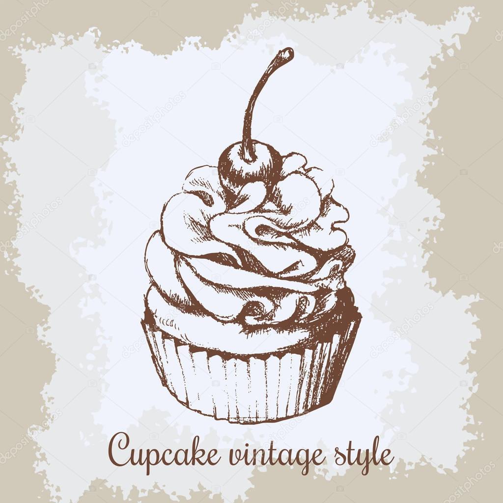 Fondo vintage vector. Mano dibujada c dulce cupcake con cereza ...