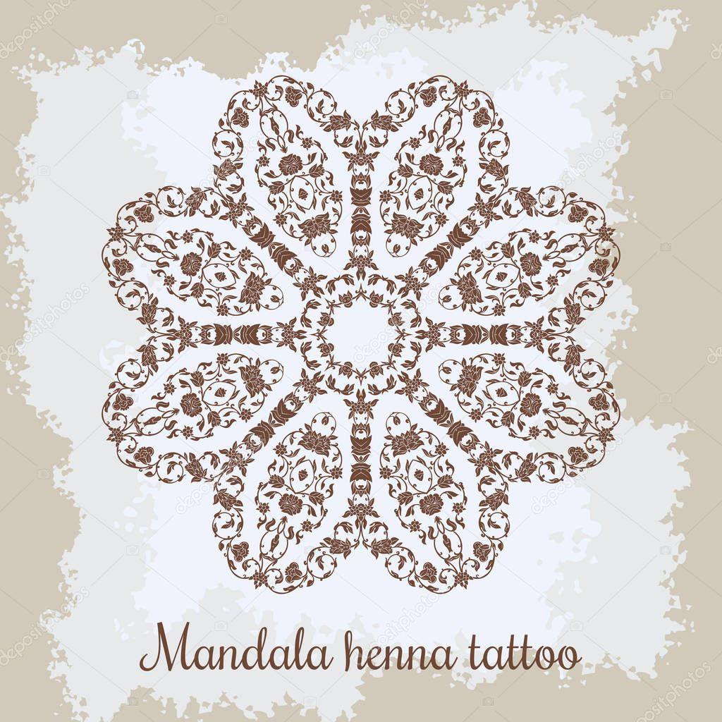 Mandala. Hermosa mano redondo ornamento floral. Patrón ornamental ...