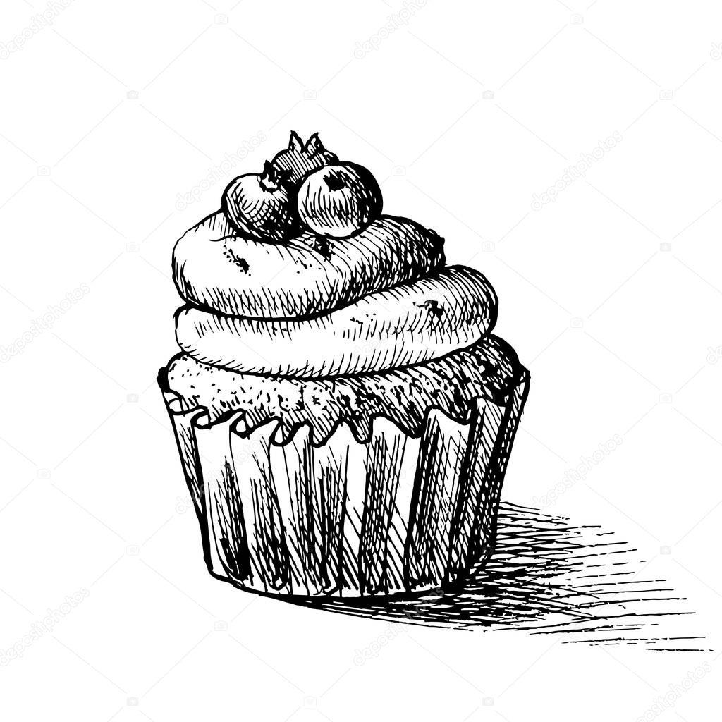 Vector Noir Et Blanc Dessin Illustration De Mignon Cupcake