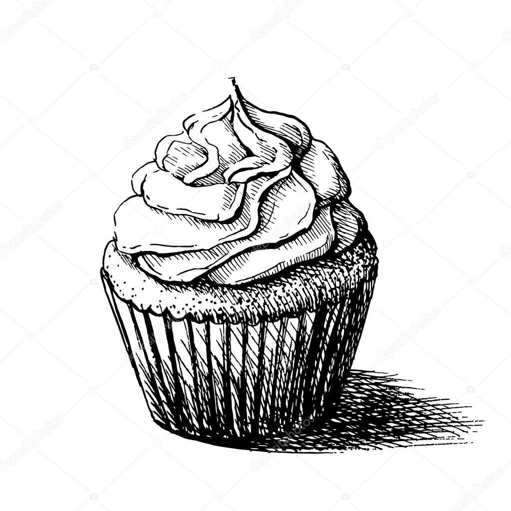 Ilustración de lindo cupcake dulce cremoso en Vector boceto blanco y ...
