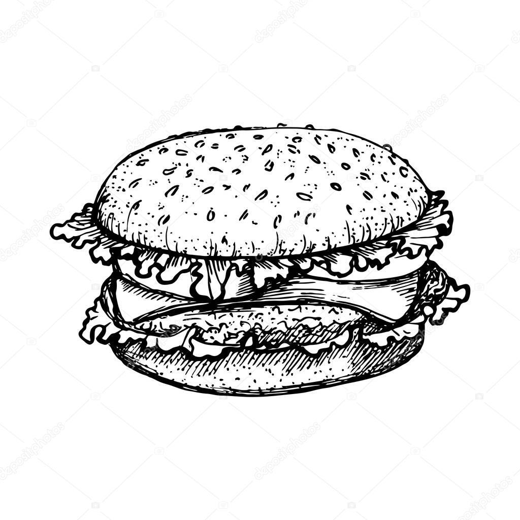 sketch hamburger or burger vector logo design template