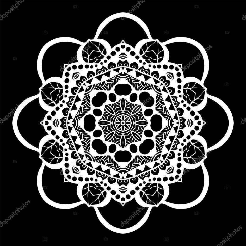 Mandala è Bianco Su Sfondo Nero Elementi Decorativi Monocromatici