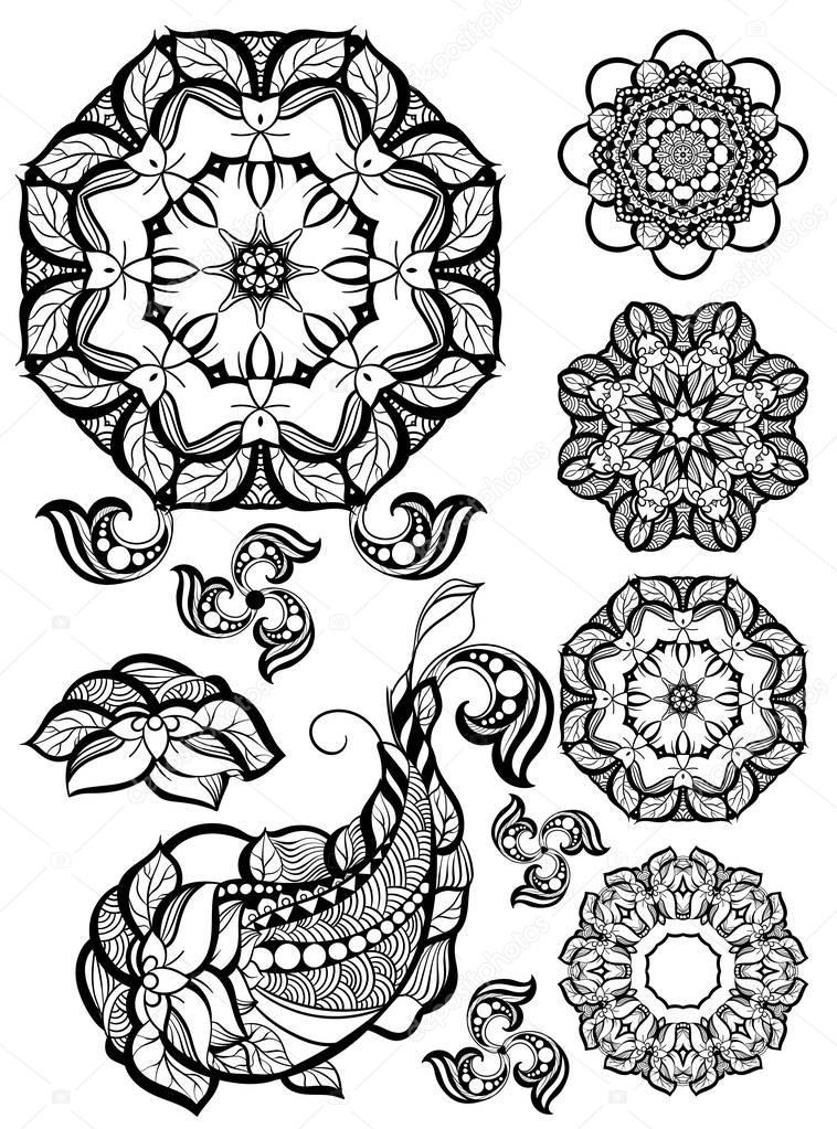 Handgezeichnete Mehendi Zierelemente und Mandala-Sammlung. Indische ...
