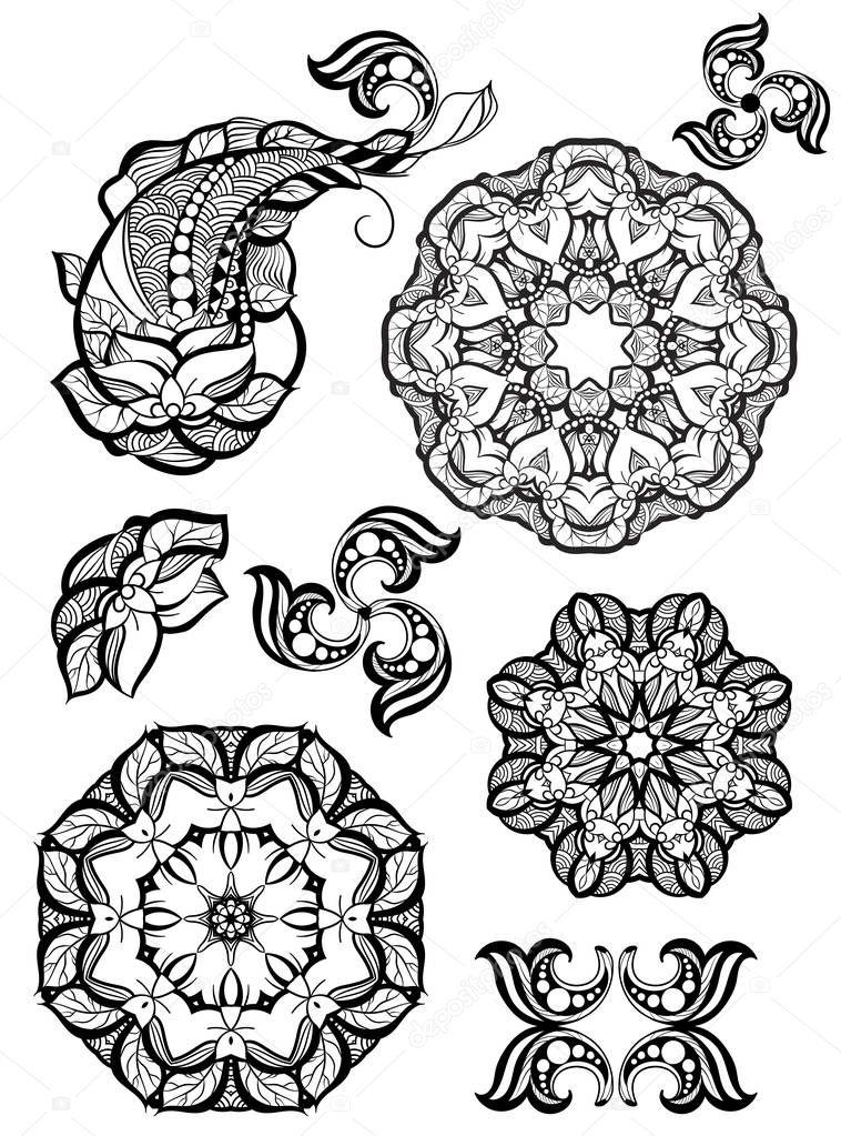 fcc8c1eea2e11 Colección de mandala y elementos ornamentales mehendi dibujado a mano.  Conjunto de tatuaje de henna indio.