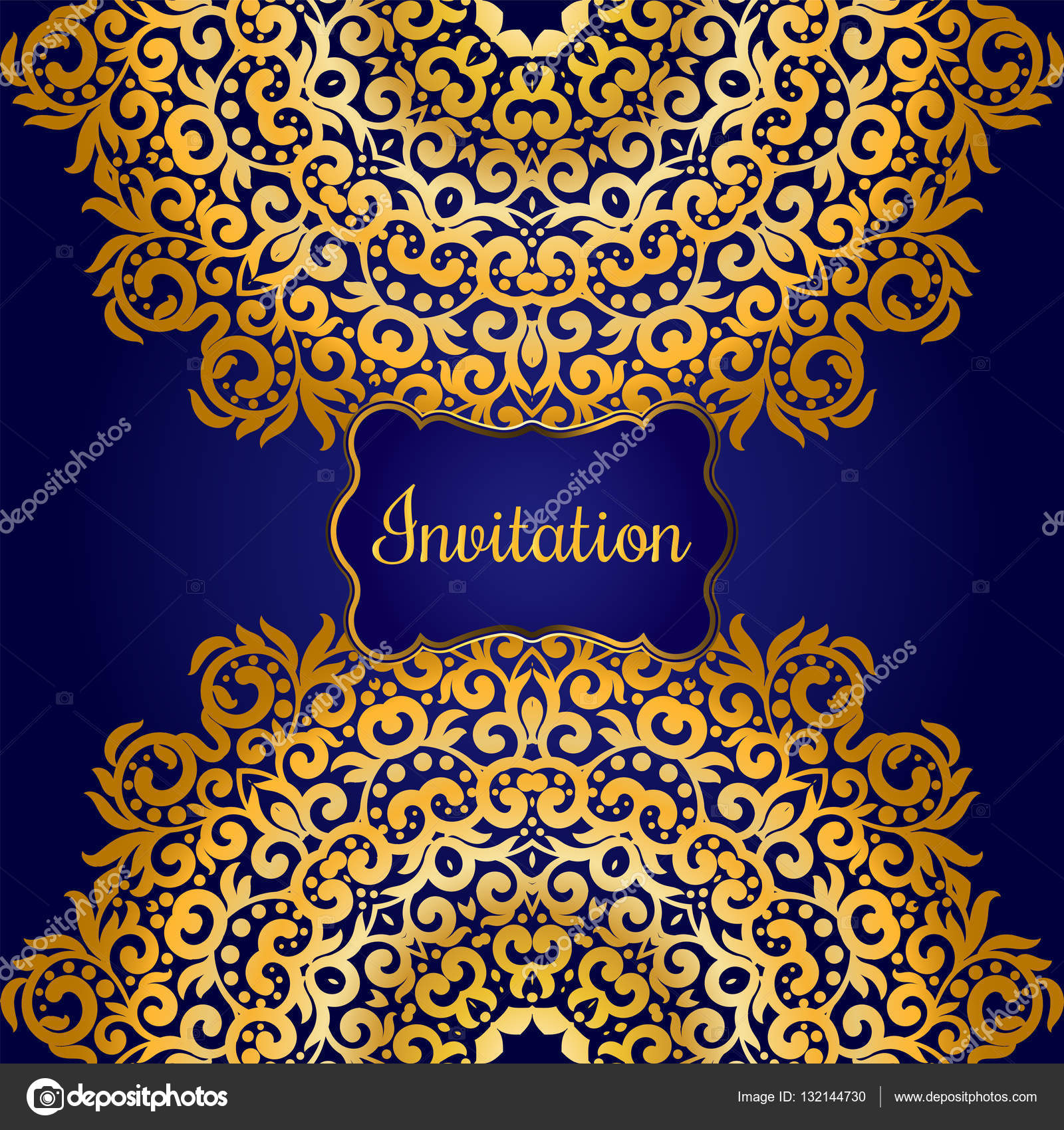 Rich gold invitation card in the indian style bohemian cards with rich gold invitation card in the indian style bohemian cards with mandalas royal blue stopboris Choice Image