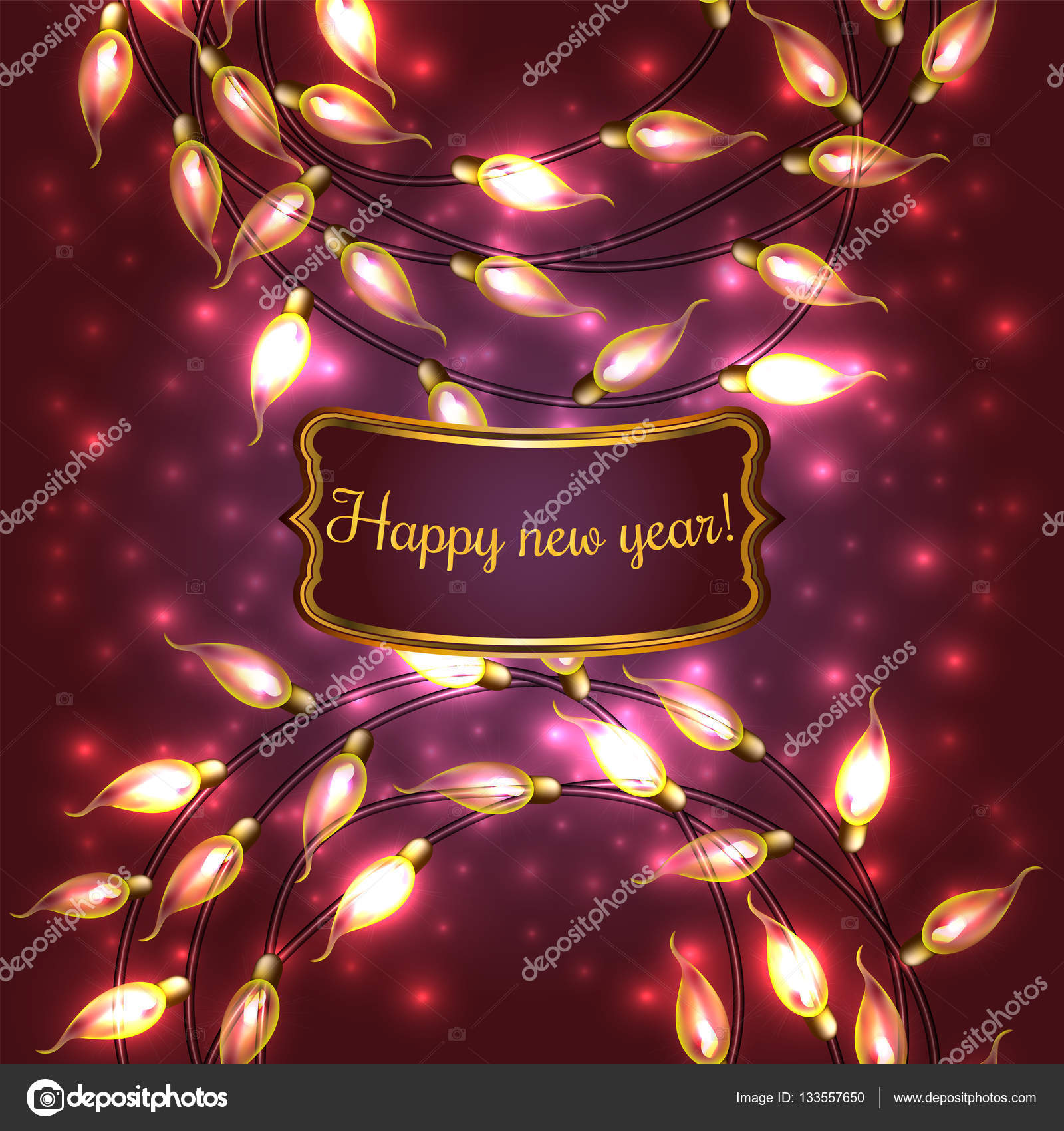 colorful red glowing christmas lightsvector elements can be used as backdrop for new year