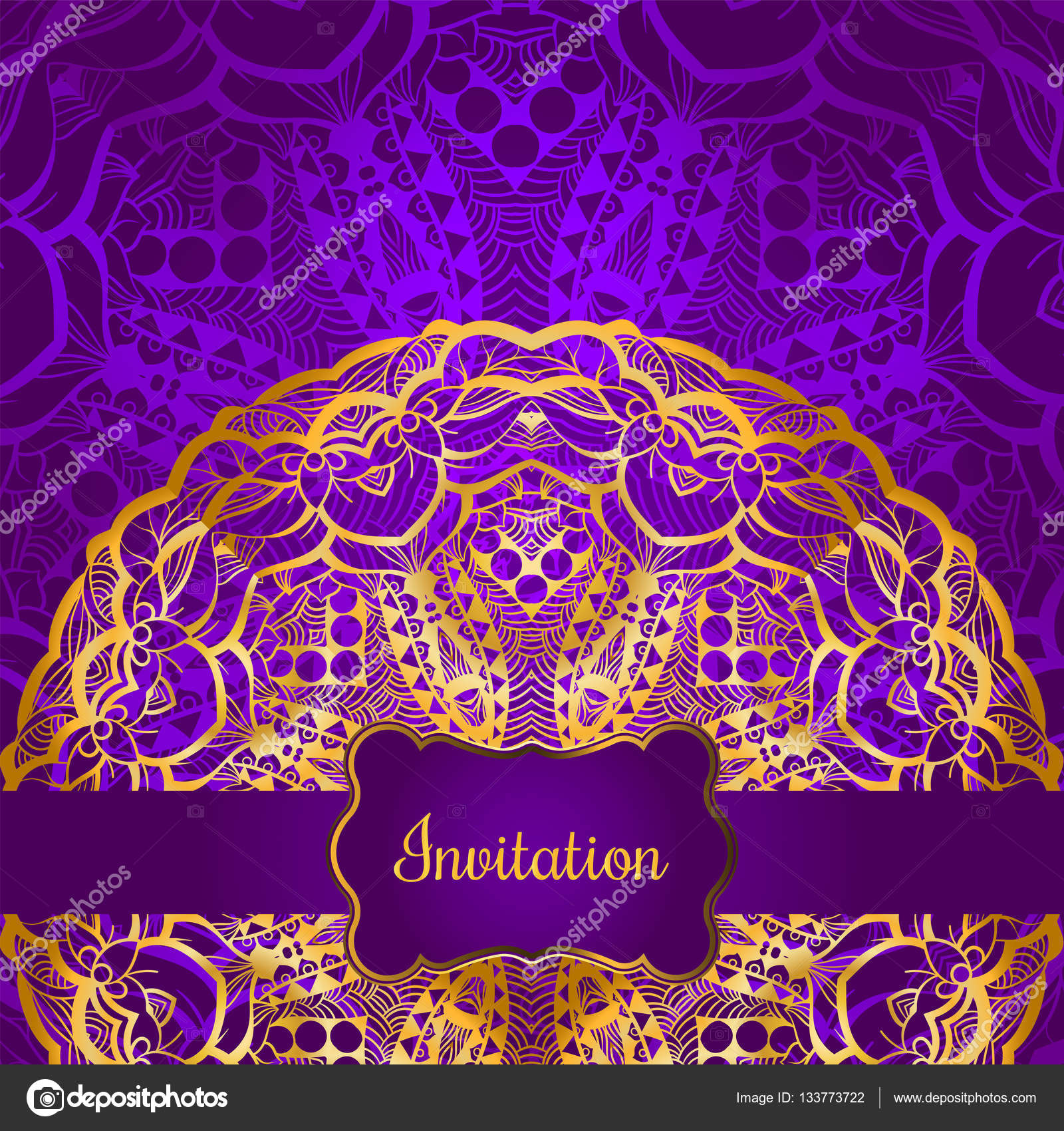 Rich Gold Invitation Card In The Indian Style Bohemian
