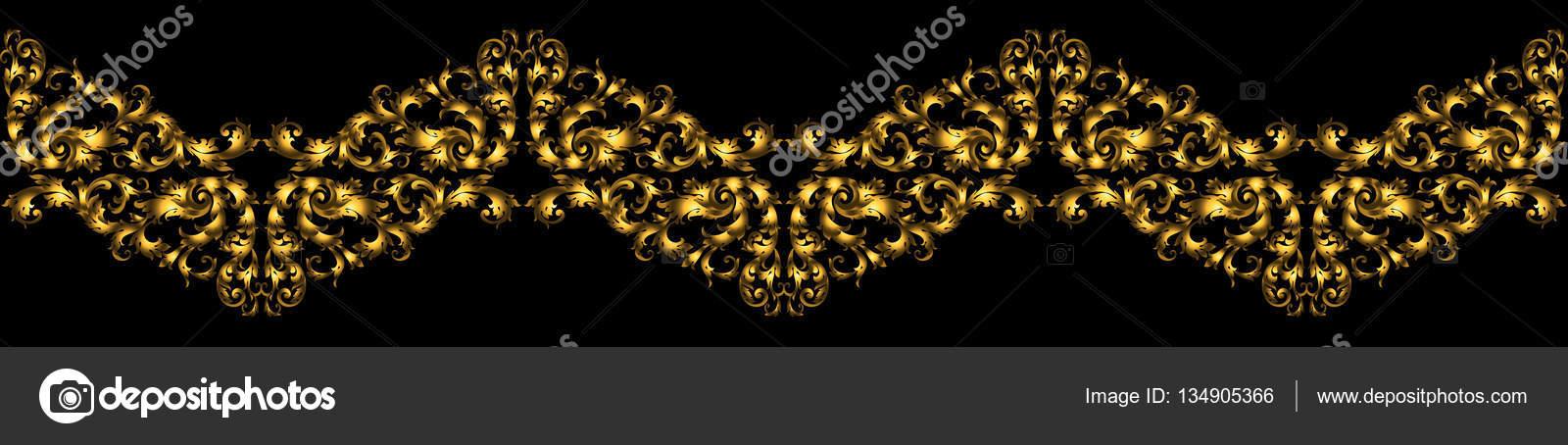 Frontera floral con elementos dorados de estilo retro para el diseño ...