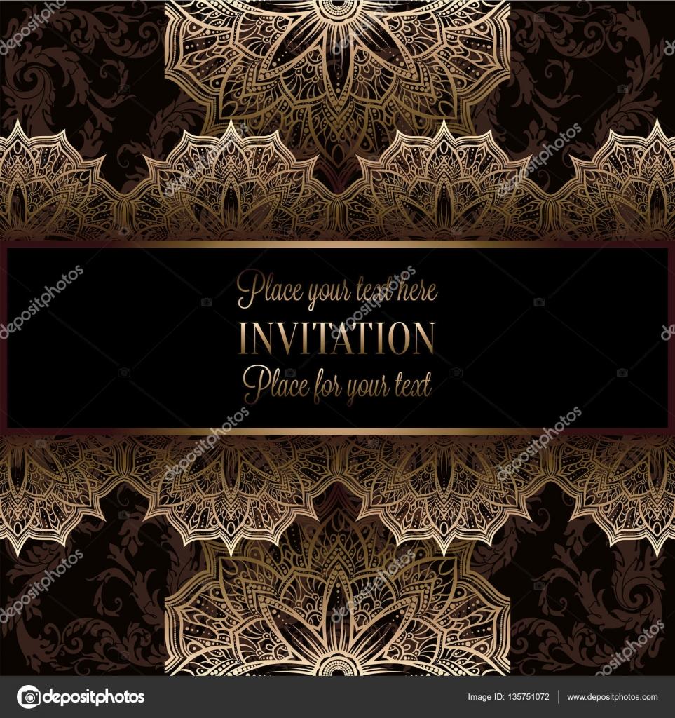 Wedding invitation or card intricate lace mandala royal gold wedding invitation or card intricate lace mandala royal gold shades islam arabic indian dubai vector by miamilky stopboris Choice Image