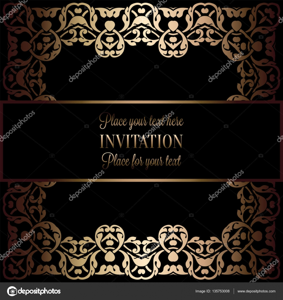 Vintage gold invitation or wedding card on black background divider vintage gold invitation or wedding card on black background divider header ornamental square lacy vector frame vector by miamilky stopboris Gallery