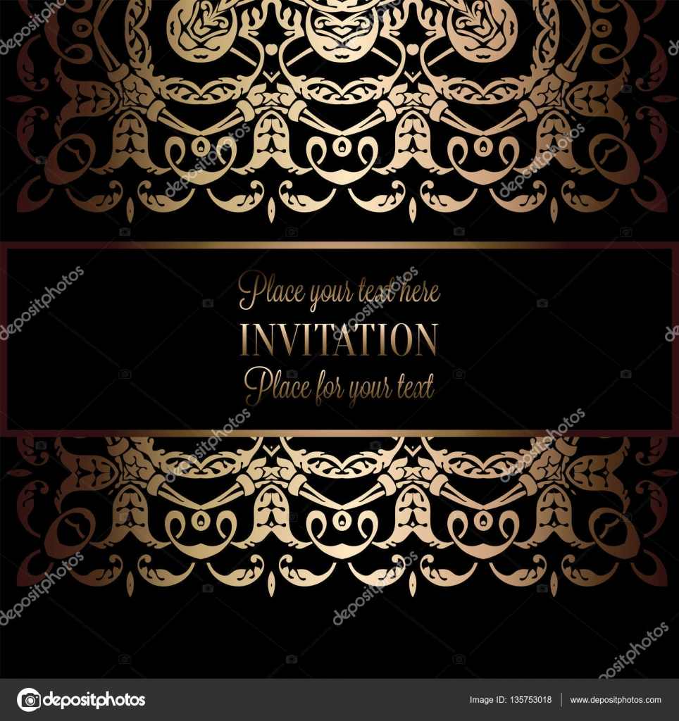Invitación Vintage gold o la tarjeta de boda en divisor, cabecera ...