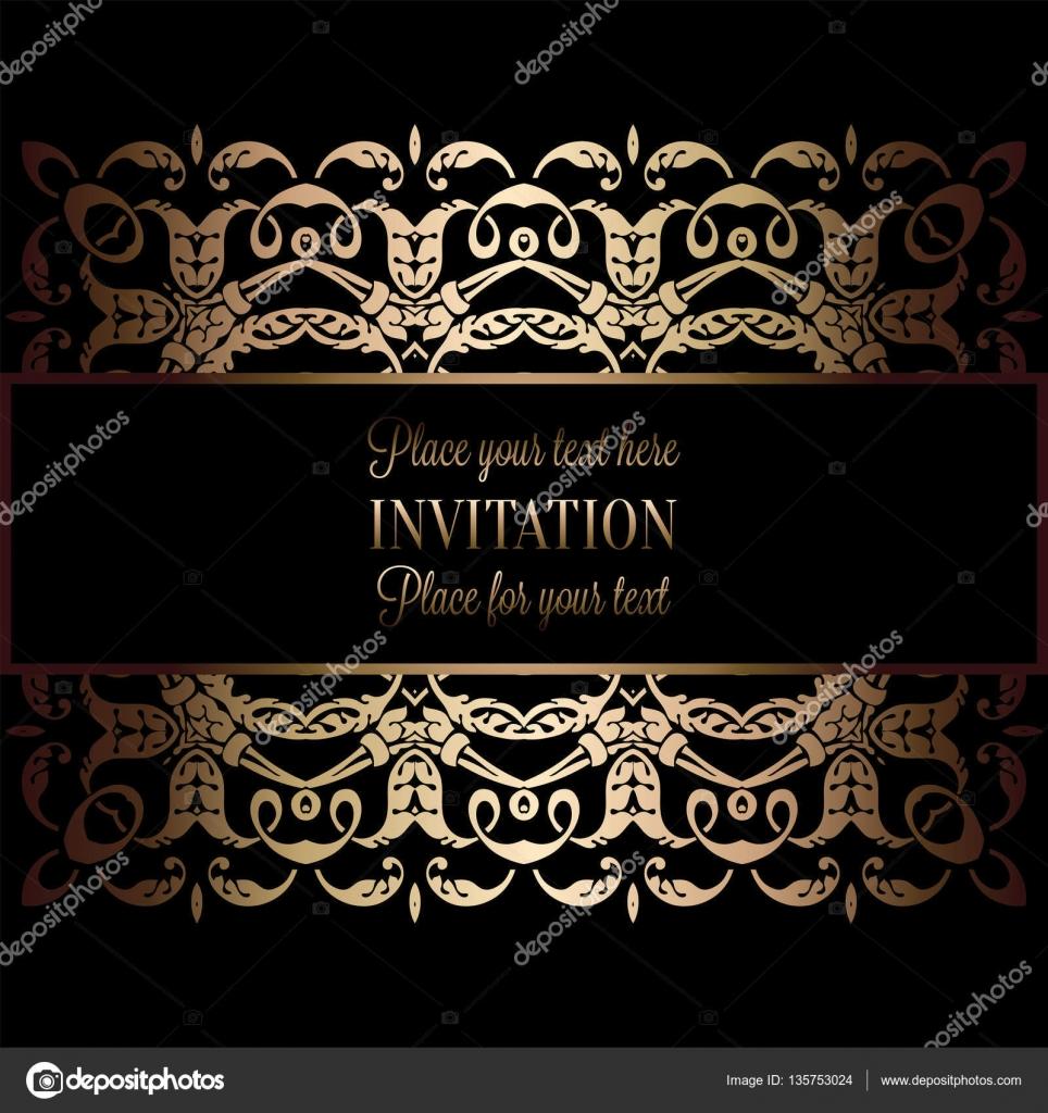 Vintage gold Einladung oder Hochzeitskarte auf schwarzem Hintergrund ...