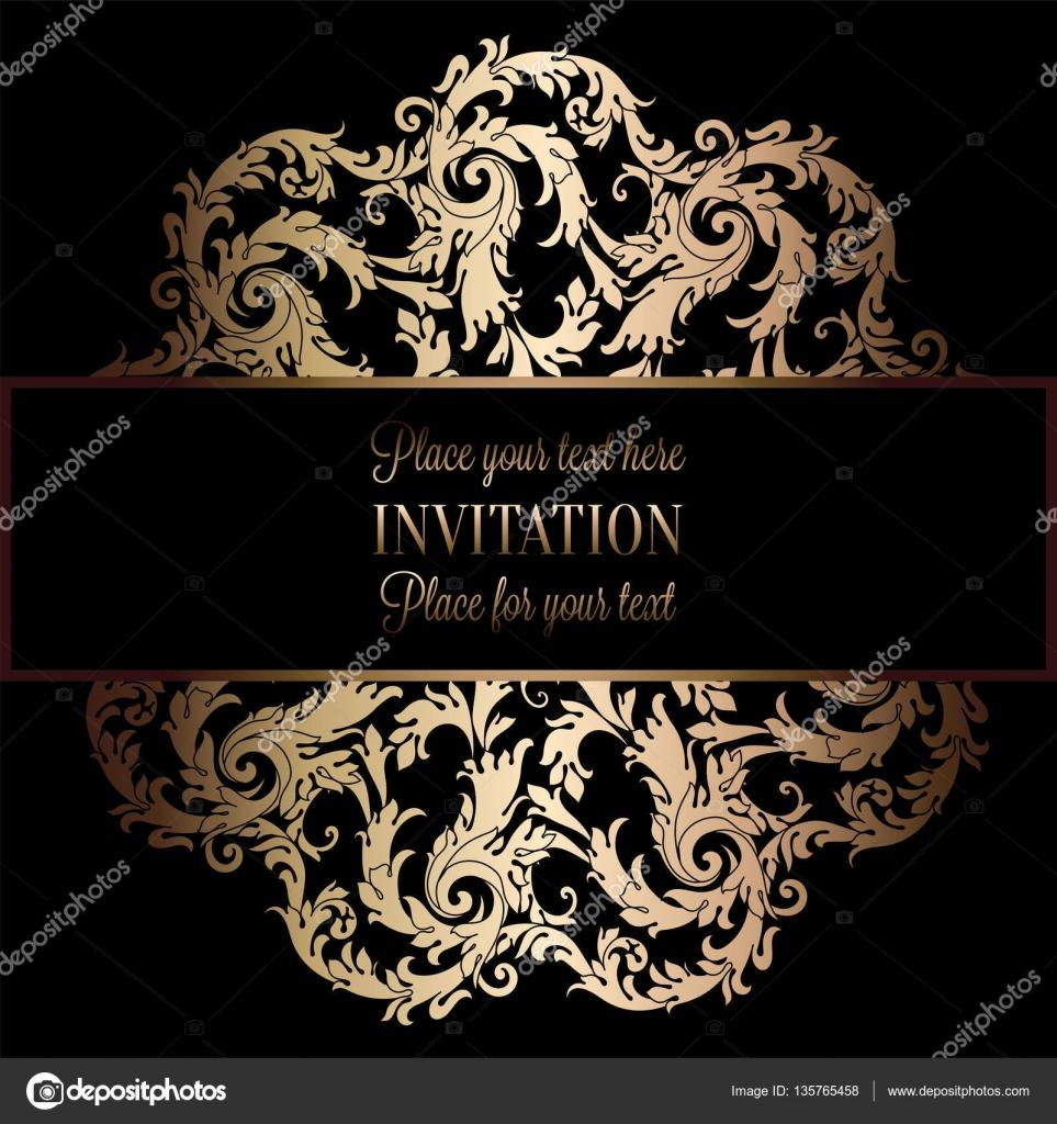 marco negro y dorado de lujo del vintage bandera victoriana adornos de papel tapiz floral tarjeta de la invitacin folleto de estilo barroco