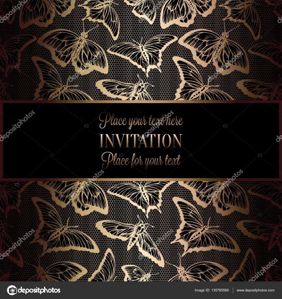 Abstrakten Hintergrund mit antik, Luxus schwarz und gold Vintage ...