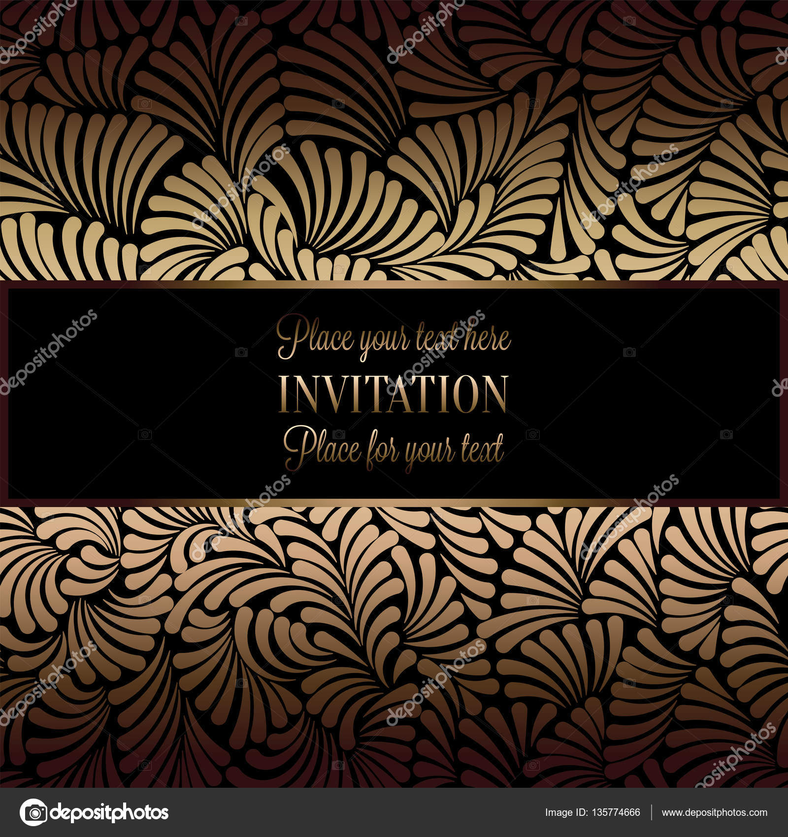 Abstract Background With Antique Luxury Black And Gold