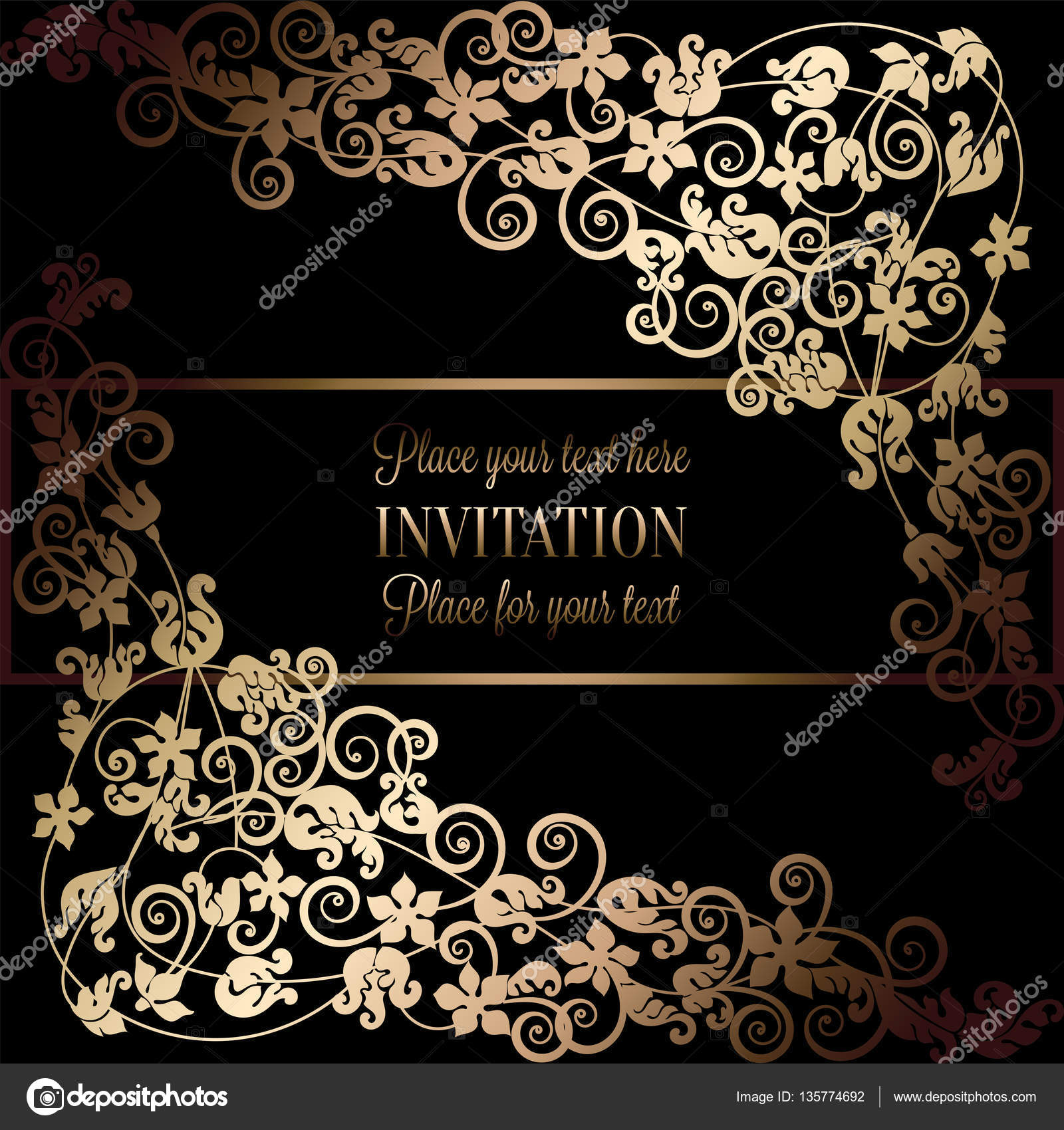 Floral Background With Antique Luxury Black And Gold Vintage Frame Victorian Banner Damask Wallpaper Ornaments Invitation Card Baroque Style