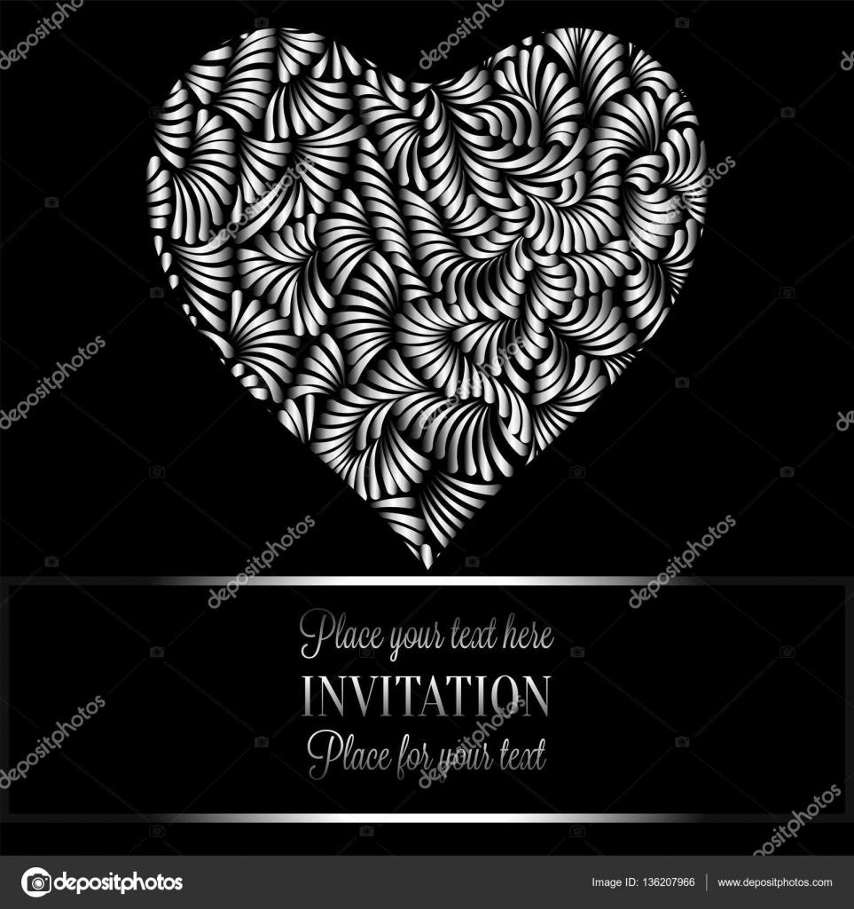 vintage negro y plata de lujo victoriano de la bandera corazn hecho de papel pintado ornamentos de plumas invitacin folleto de estilo barroco