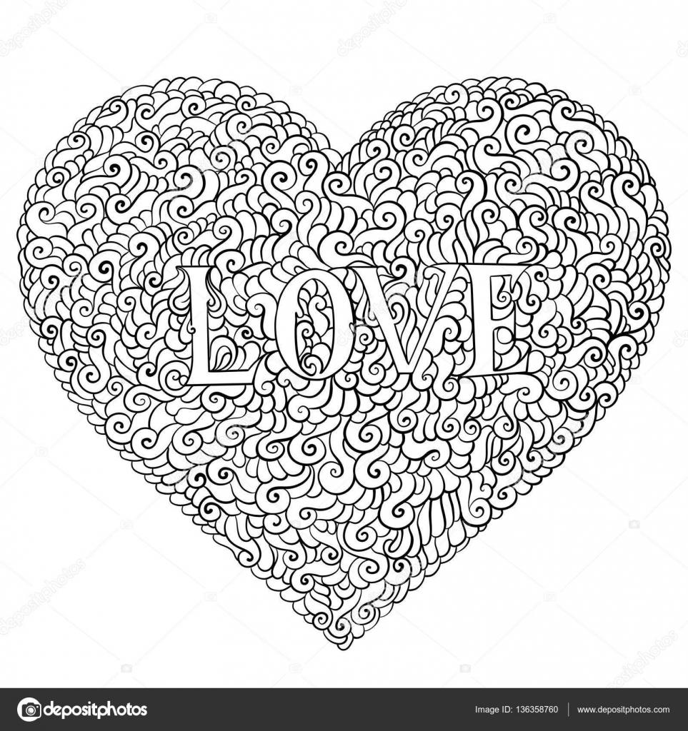 Amor día de San Valentín composición en estilo doodle. Elementos de ...